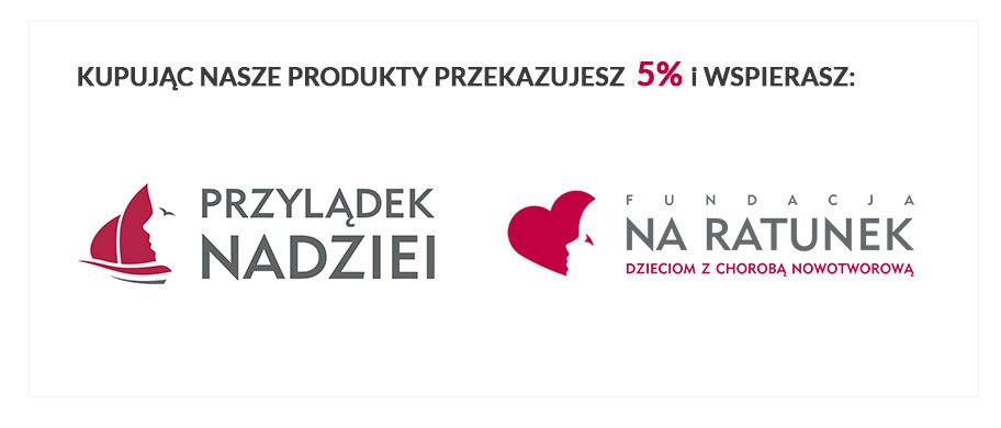 Kupując nasze produkty przekazujesz 5% na Fundację na Ratunek oraz Przylądek Nadziei
