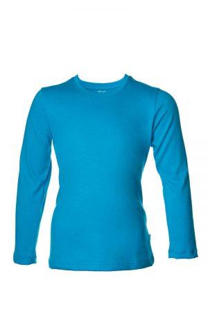 Niebieska bawełaniana koszulka z długim rękawem