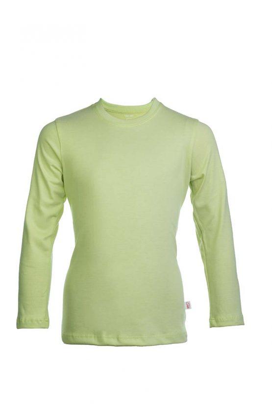 Limonkowa bawełaniana koszulka z długim rękawem