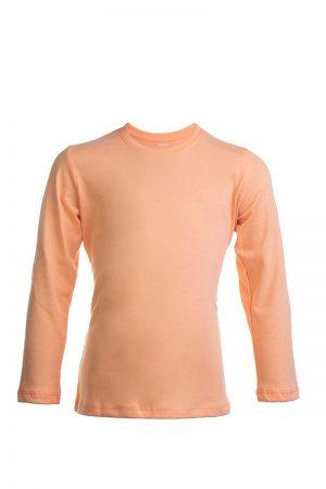 Łososiowa bawełaniana koszulka z długim rękawem