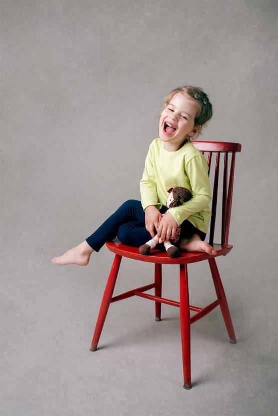 Dziewczęca limonkowa koszulka z długim rękawem