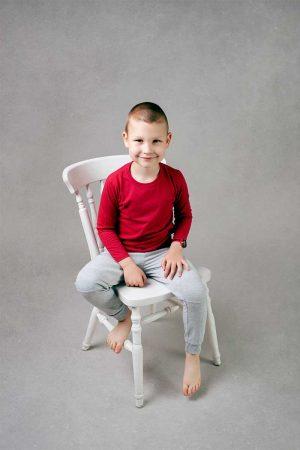 Chłopięca Malinowa koszulka z długim rękawem