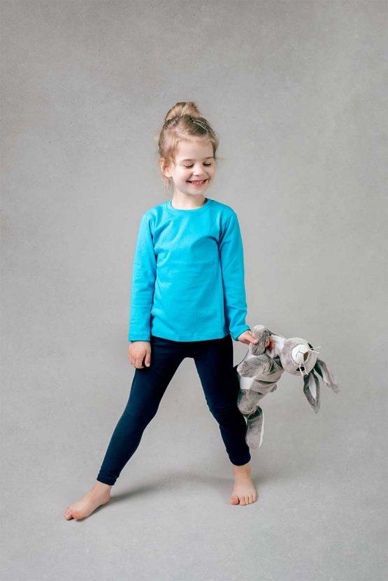Dziewczęca szara koszulka z długim rękawem