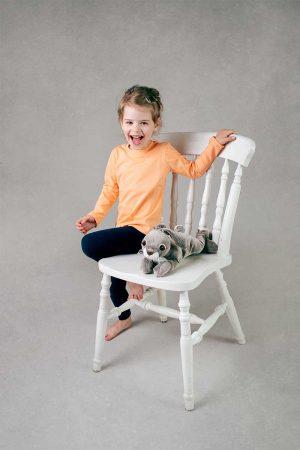 Łososiowa koszulka z długim rękawem dla dzieci